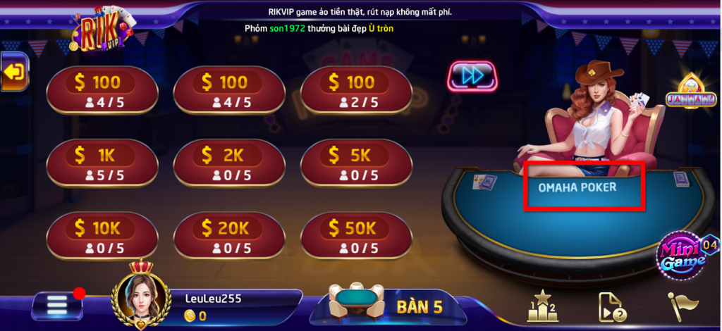 Omaha Poker là trò chơi trí tuệ không thể thiếu tại RikVIP