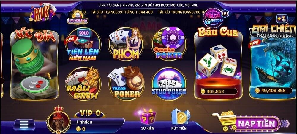 Trên thanh trò chơi lựa chọn tựa game Omaha Poker