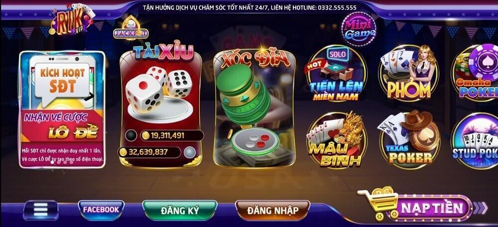 RikVIP trang bị đa dạng các tựa game cho anh em lựa chọn
