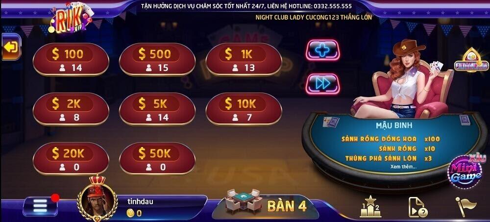 Game Mậu Binh mang đến nhiều bàn chơi có mức cược khác nhau