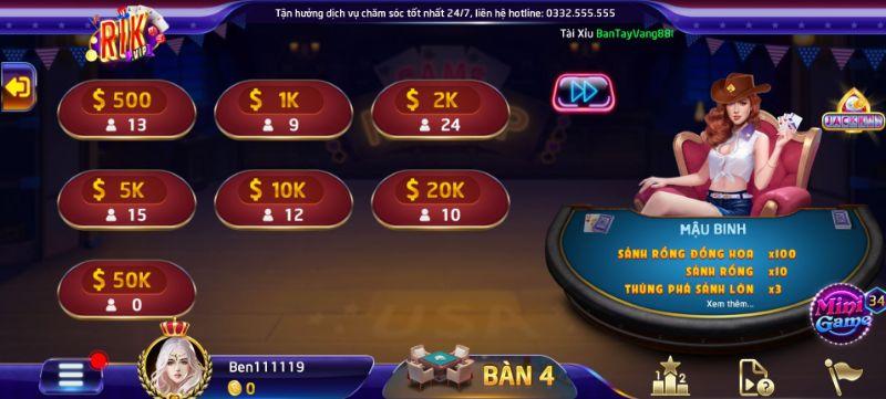 Bạn có thể chọn mức cược từ 500 đến 50K khi chơi Mậu binh