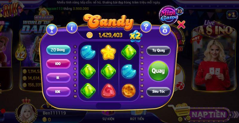 Giao diện đầy hấp dẫn trò chơi Candy
