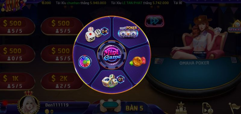 Mini poker là một trong những mini game hấp dẫn tại RikVIP